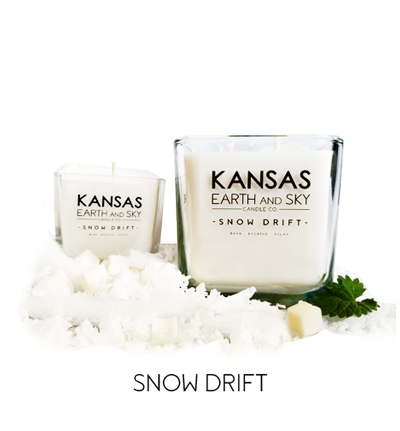 snow drift scented kansas soy candles