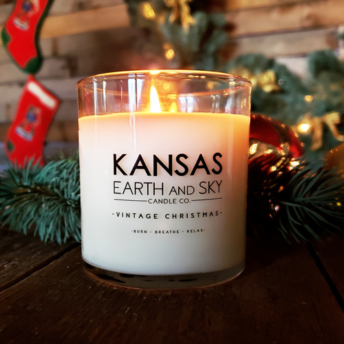 vintage Christmas 10oz soy candle