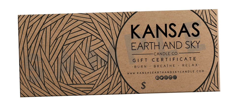 Kansas earth and Sky Soy Candle Gift Certificate